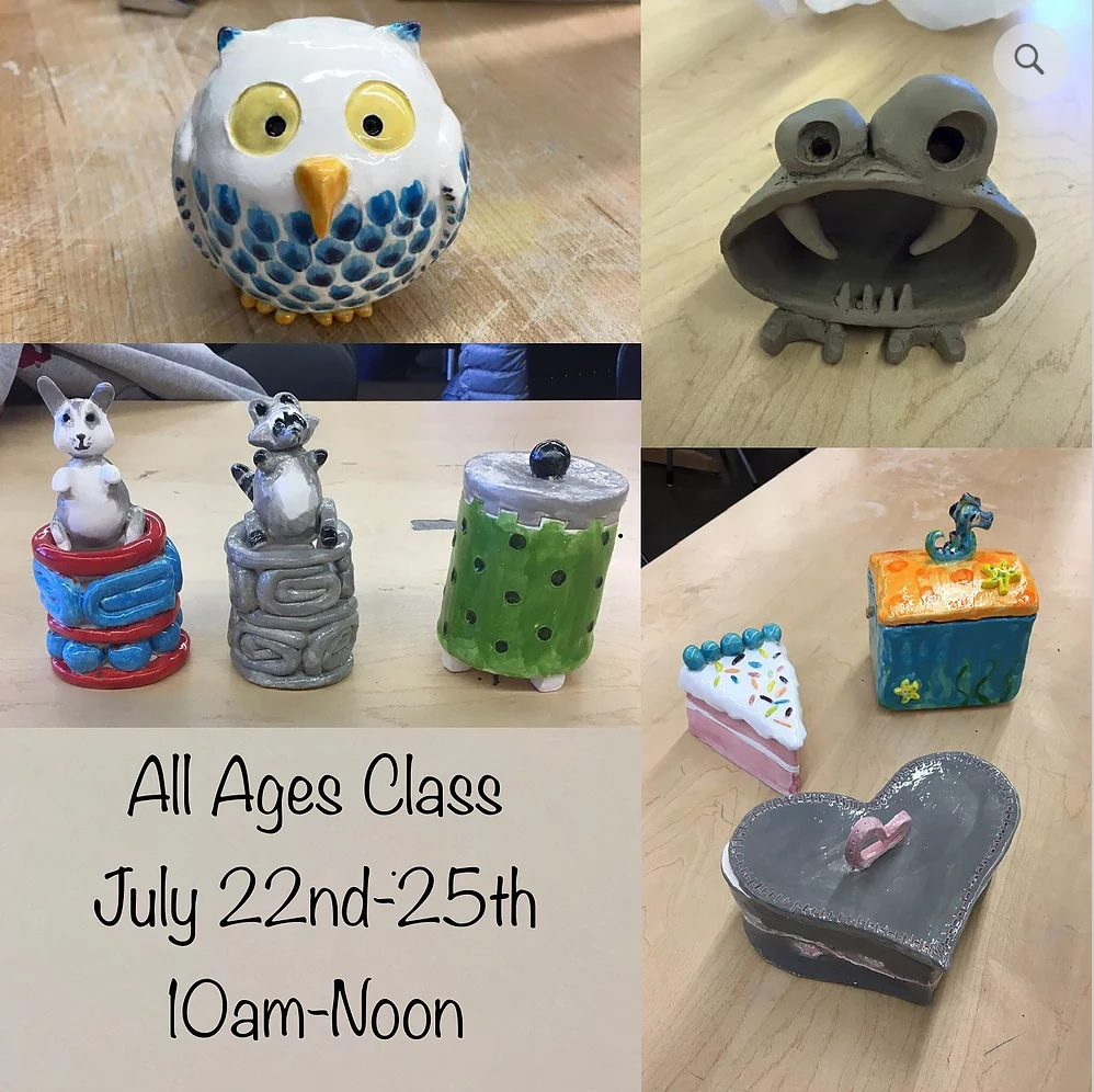 CLAY WITH KATY NICKELL   (ages 6+)  July 22 - 25 $160 (whole week) 10am - noon   meet katy here!