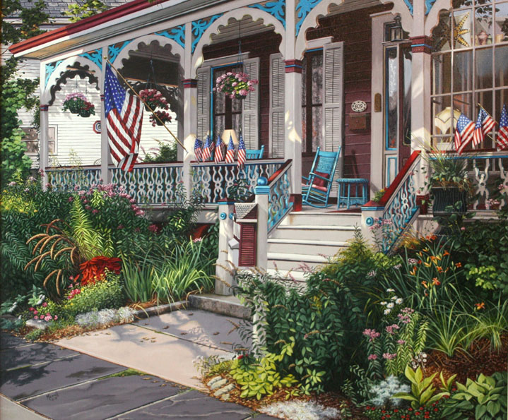 Cape May Summer Porch - Oil on linen 32 x 38
