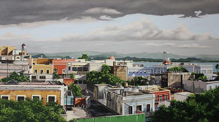 "Rooftops of Old San Juan  - Oil on linen 20"" x 36"""
