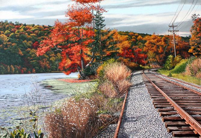 """Tracks along Hatch Pond Oil on linen 22"""" x 32"""""""