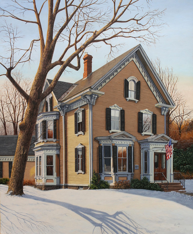 """Early winter on Church St - Oil on linen 34"""" x 28"""""""