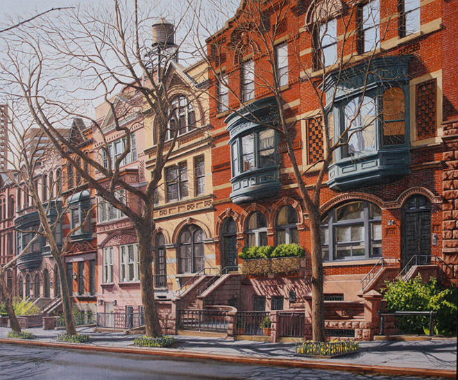 "April on East 95th Street Oil on linen - 30"" x 36"""