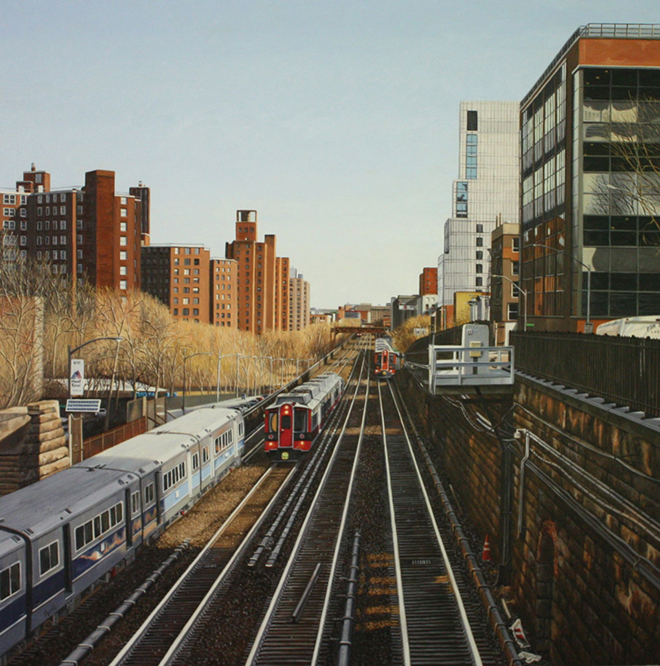 "Beginning the decent to Grand Central Terminal - Oil on Linen - 34"" x 34"""