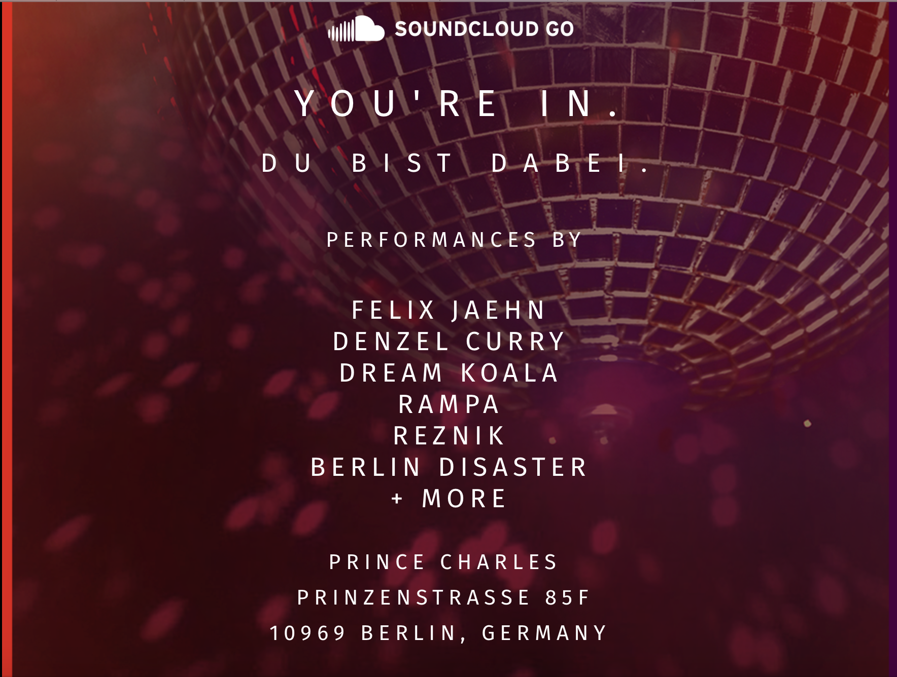 Soundcloud GO invitation