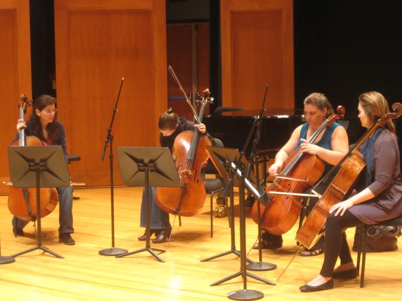 Louise Dubin, Julia Bruskin, Kathy Cherbas, and Saeunn Thorsteinsdottir recording a cello quartet by Franchomme for the album
