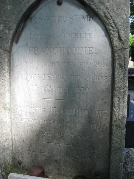 Franchomme's gravestone, which has some lovely words he wrote about his wife, who predeceased him (as did his son and one of his two daughters).