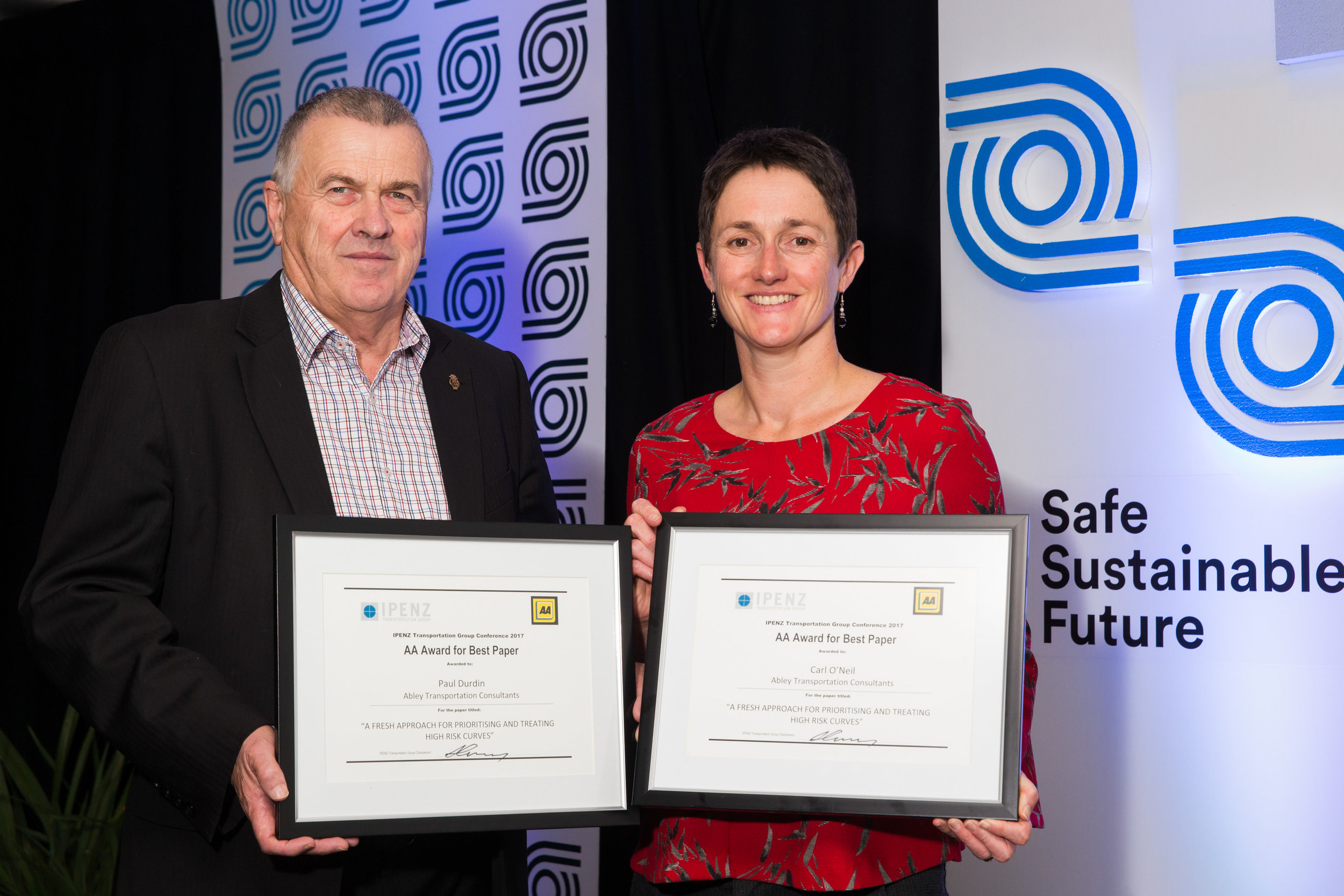 AA Award for Best Conference Paper   - A fresh approach for prioritising and treating high risk curves         Carl O'Neil and Paul Durdin - Abley Transportation ConsultantsRaja Abeysekera - Transport for NSW: Centre for Road Safety  PRESENTED BY TREVOR FOLLOWS, AA