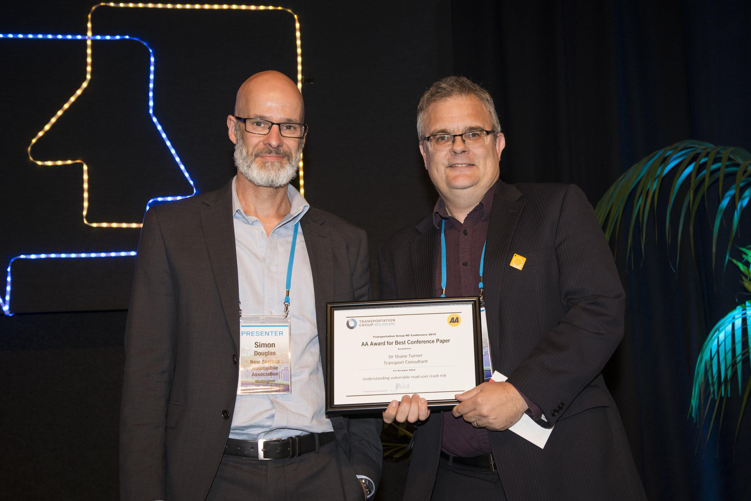 AA Award for Best Conference Paper   Understanding vulnerable road user crash risk   Dr Shane Turner, Transport Consultant