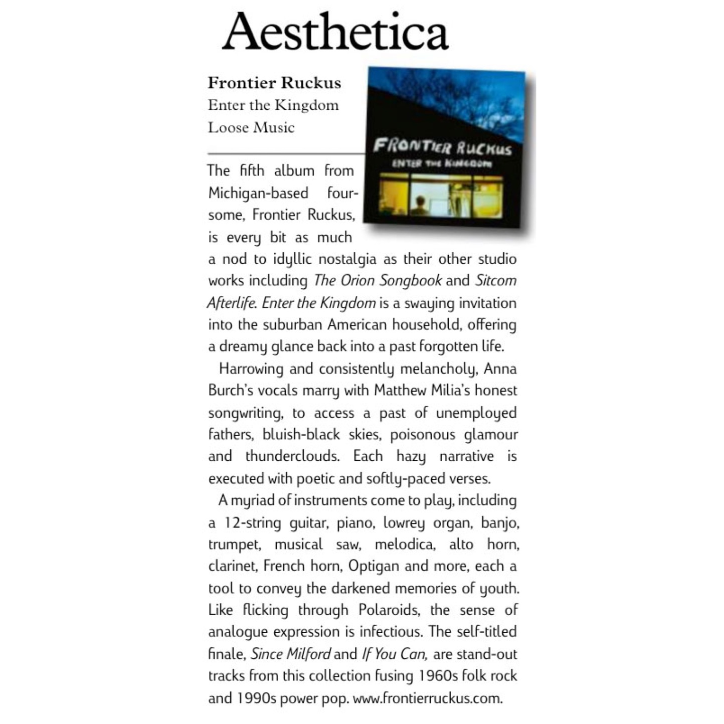 Some kind words from  Aesthetica Magazine  in the UK.