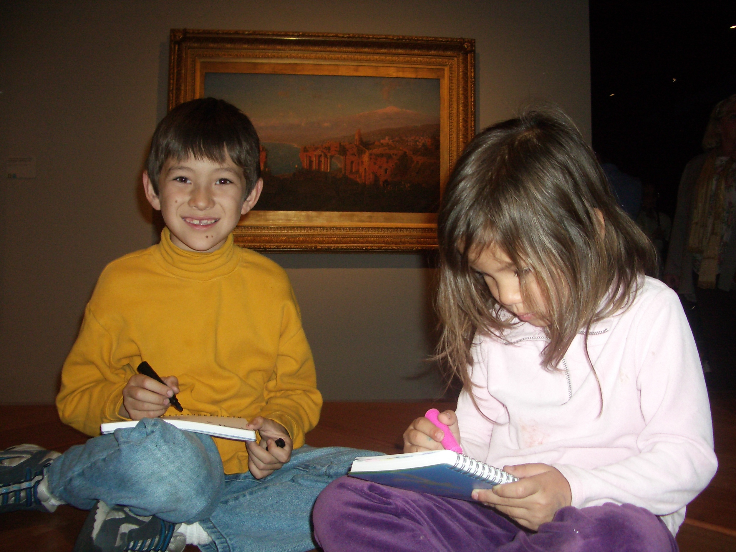 viewing the masters can inspire kids to want  to create their own works of art. On a trip to the museum, My kids carried sketchpads and markers with them and started drawing when they felt inspired to do so. i watched them from afar, but let them drive the timing of what they wanted to do and see.
