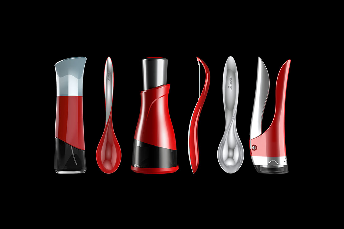 I designed the corkscrew to fit in with the existing items in the product line.