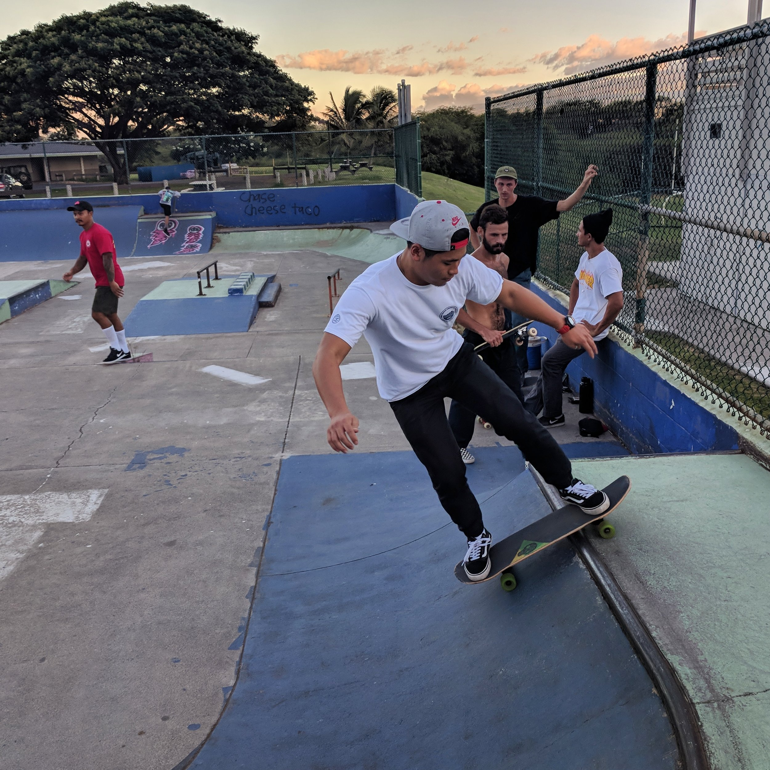 Kai learning skateboard tricks at Keo last Wednesday. Kai is from Japan,recently received Jesus, and is learning what it means to #LiveOneLove from Sam P weekly.