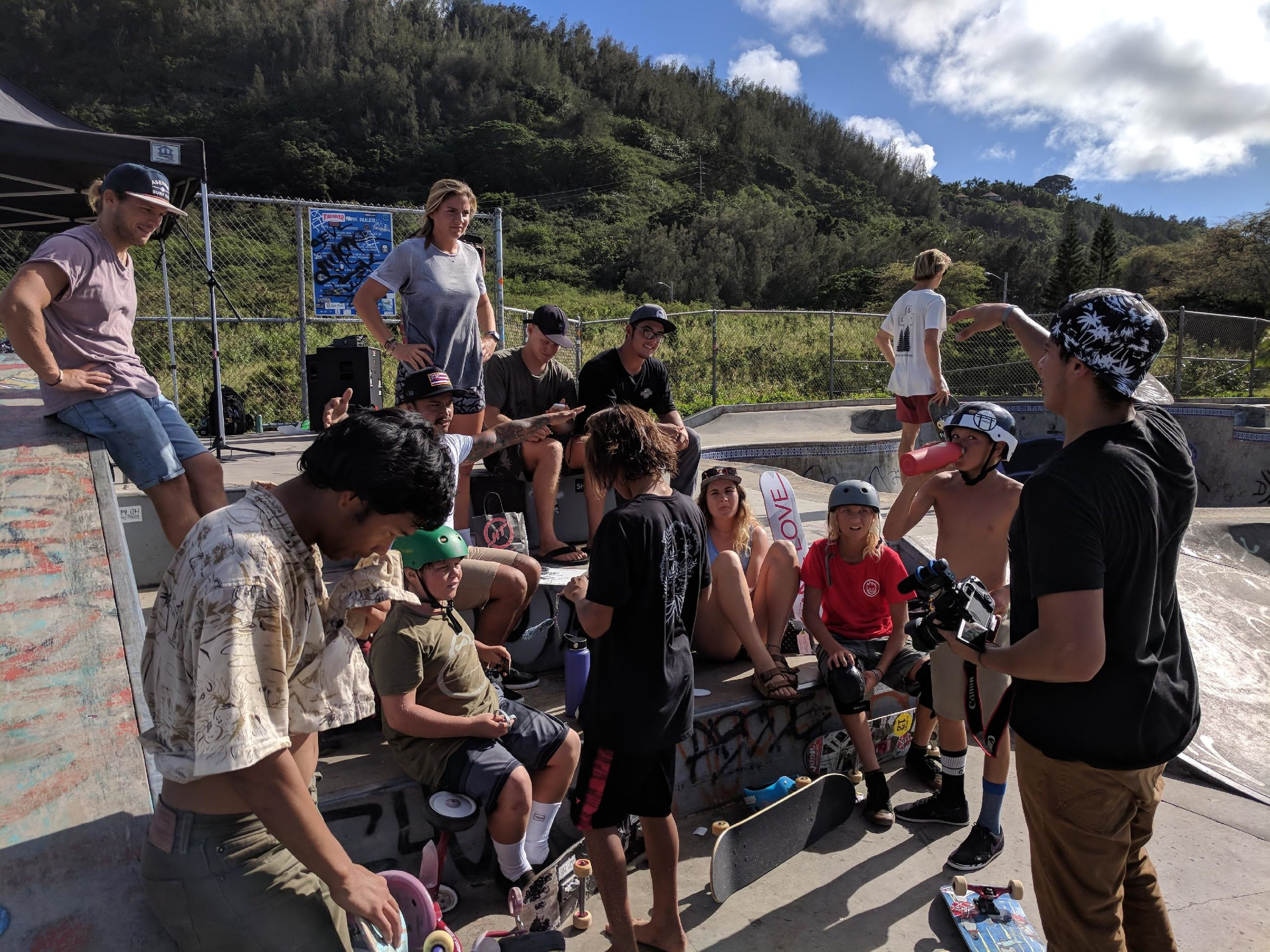 Stoked the event at Banzai went great at 2pm Saturday & that kids came back to Sunset Community Church after. Congrats Lucas winning a Complete 1L Deck, and to the other winners of a 1L deck, hats, and stickers.