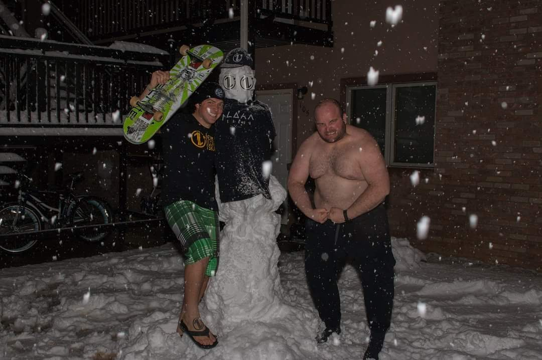 "Like many things in life,  this snowman started with ""one tiny snowball"" and grew to be something bigger than us. Stoked by this 1L Vision, and we had a ridiculously fun time meeting Auburn's neighbor as well... ""COMMITtoWWUUUNNN."""