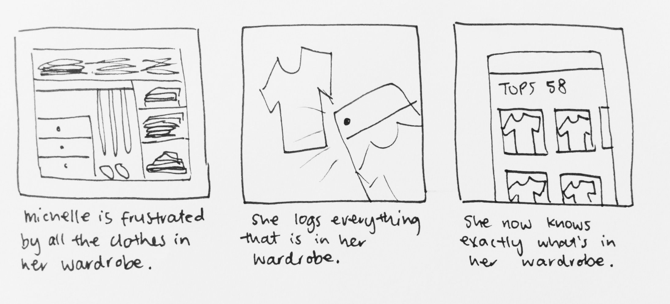 Storyboard sketch based on pain point of not knowing what's in your wardrobe.