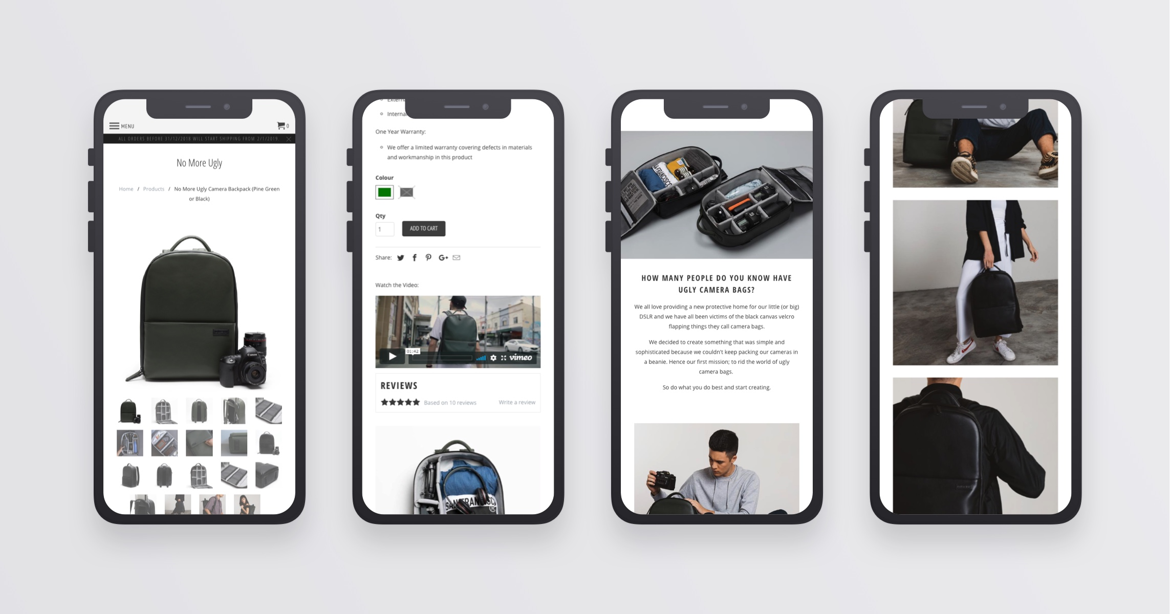 Product page mobile design.