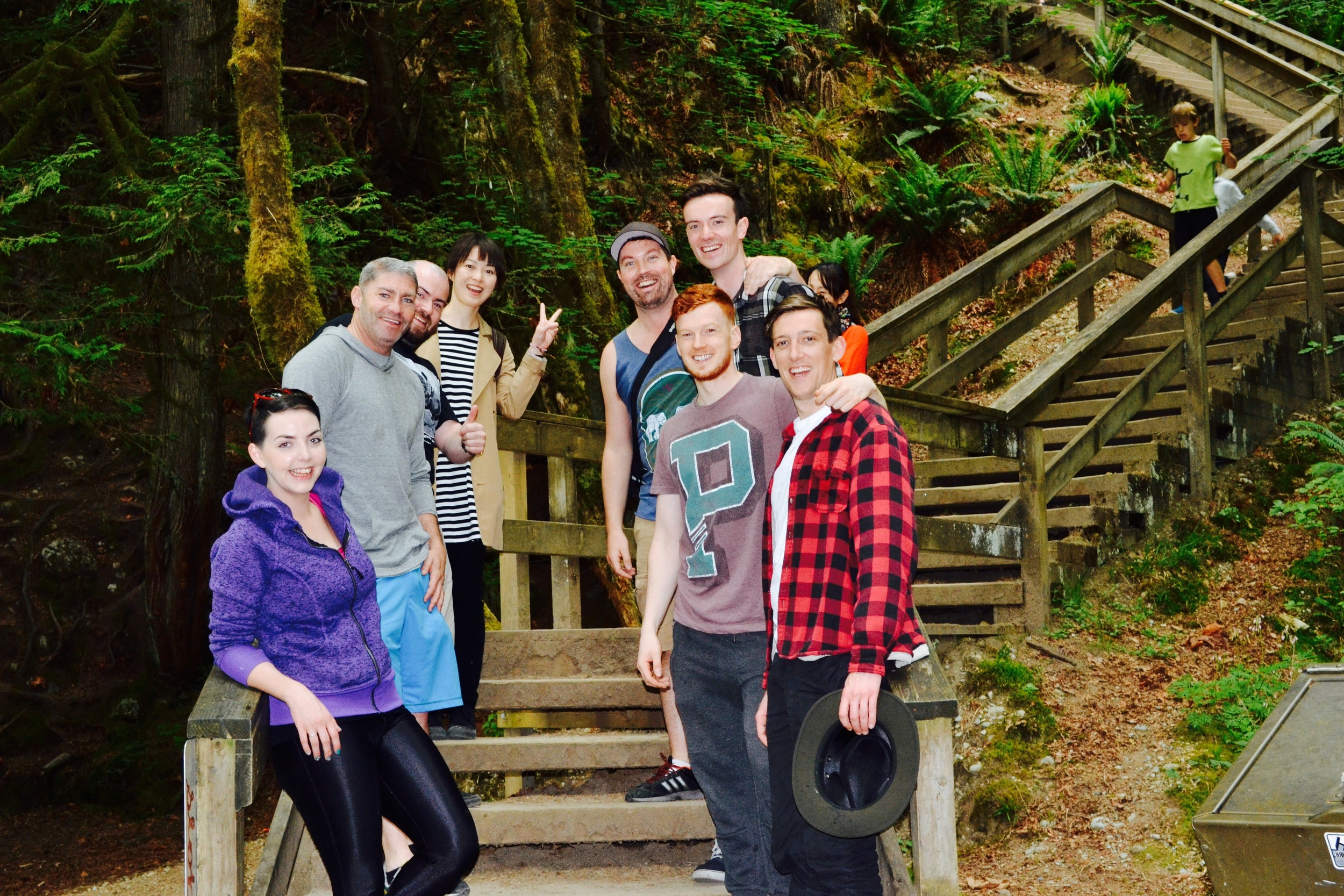 Group photo at Lynn Canyon during our one day Bike and Hike tour