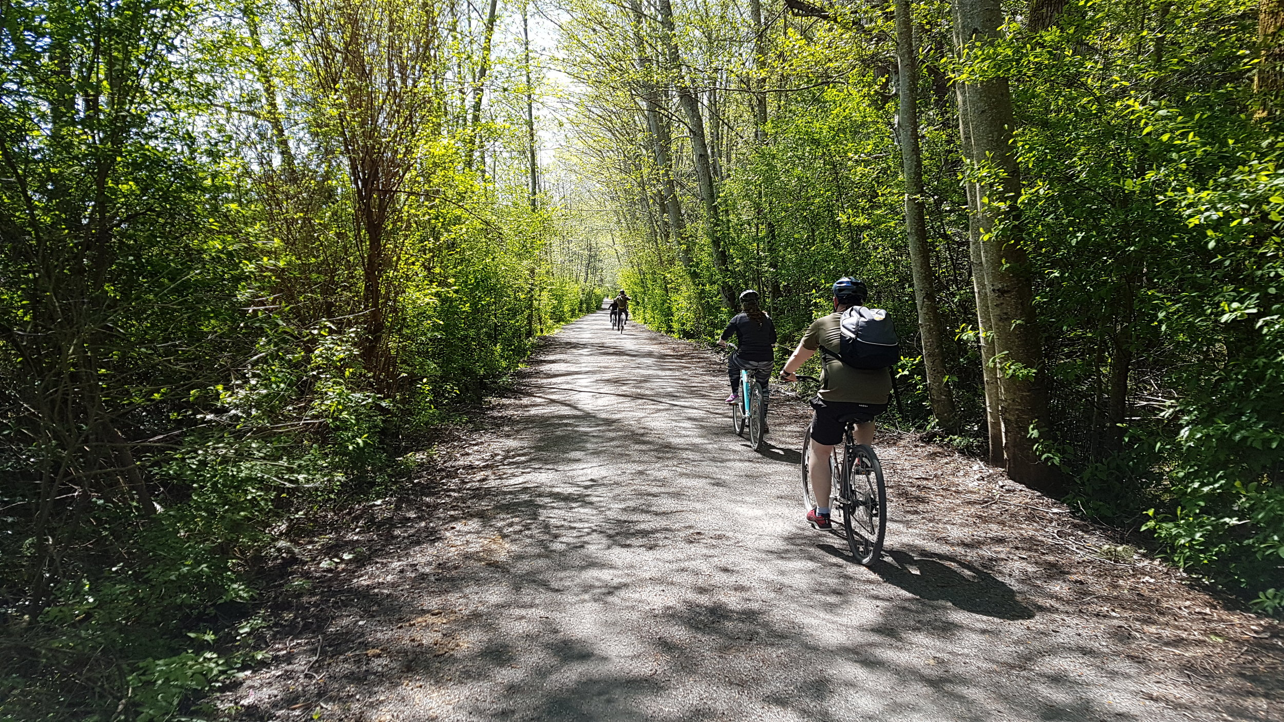 Cycling alon Elk/Beaver lake during our one day Vancouver Island Bike tour
