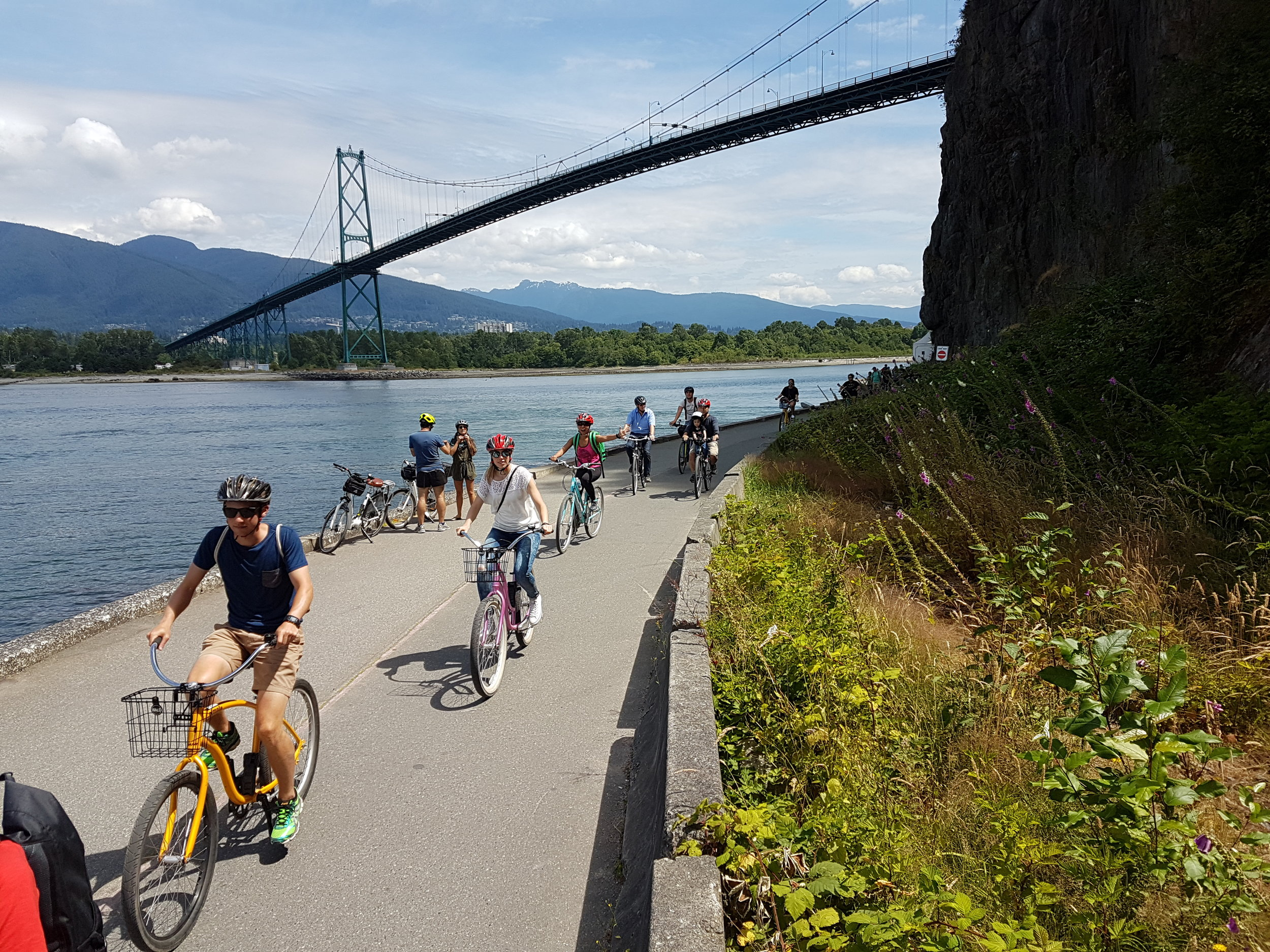Cycling on the Sea Wall during our Vancouver City tour