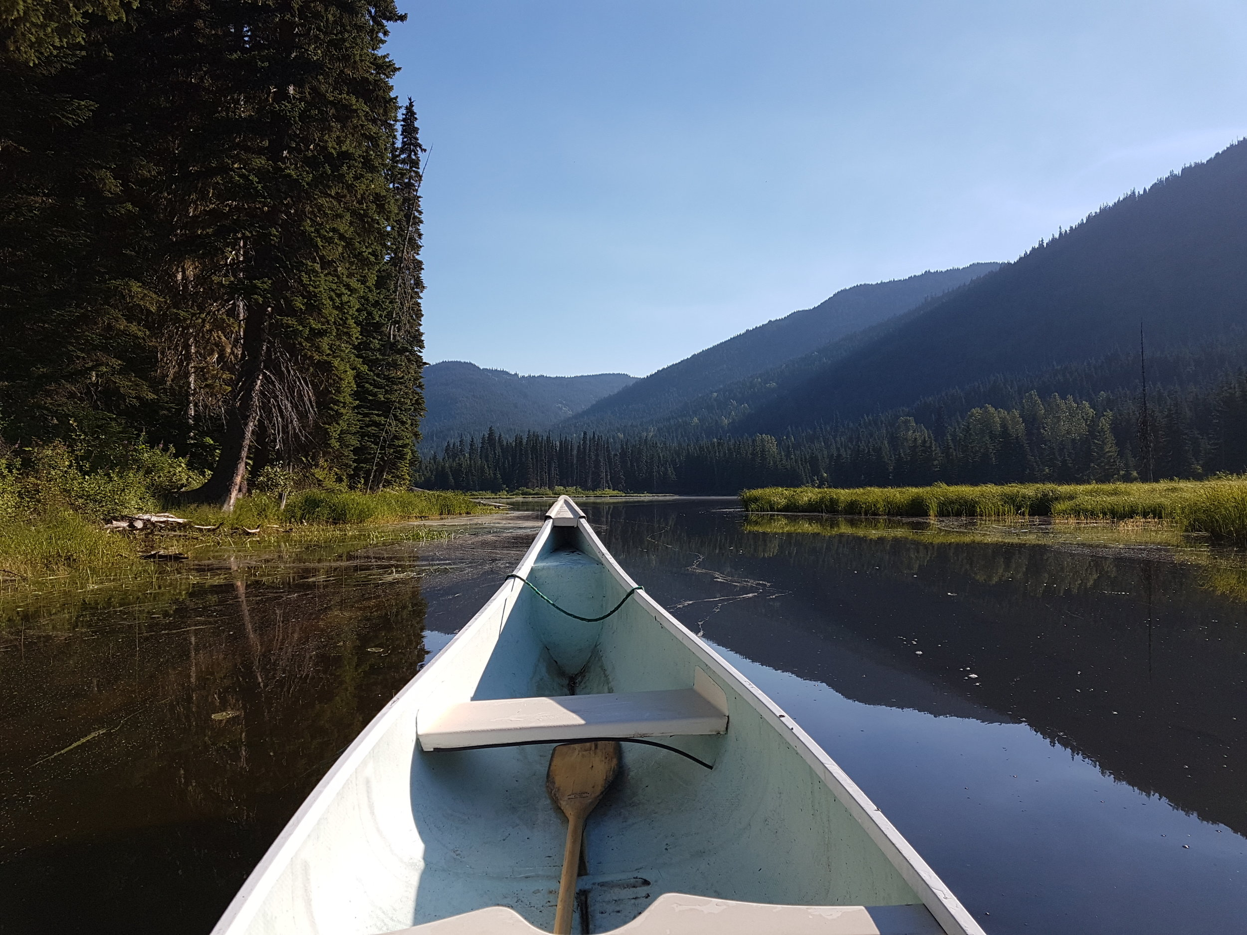 Canoeing during one of our Multiday Bike Tours in BC