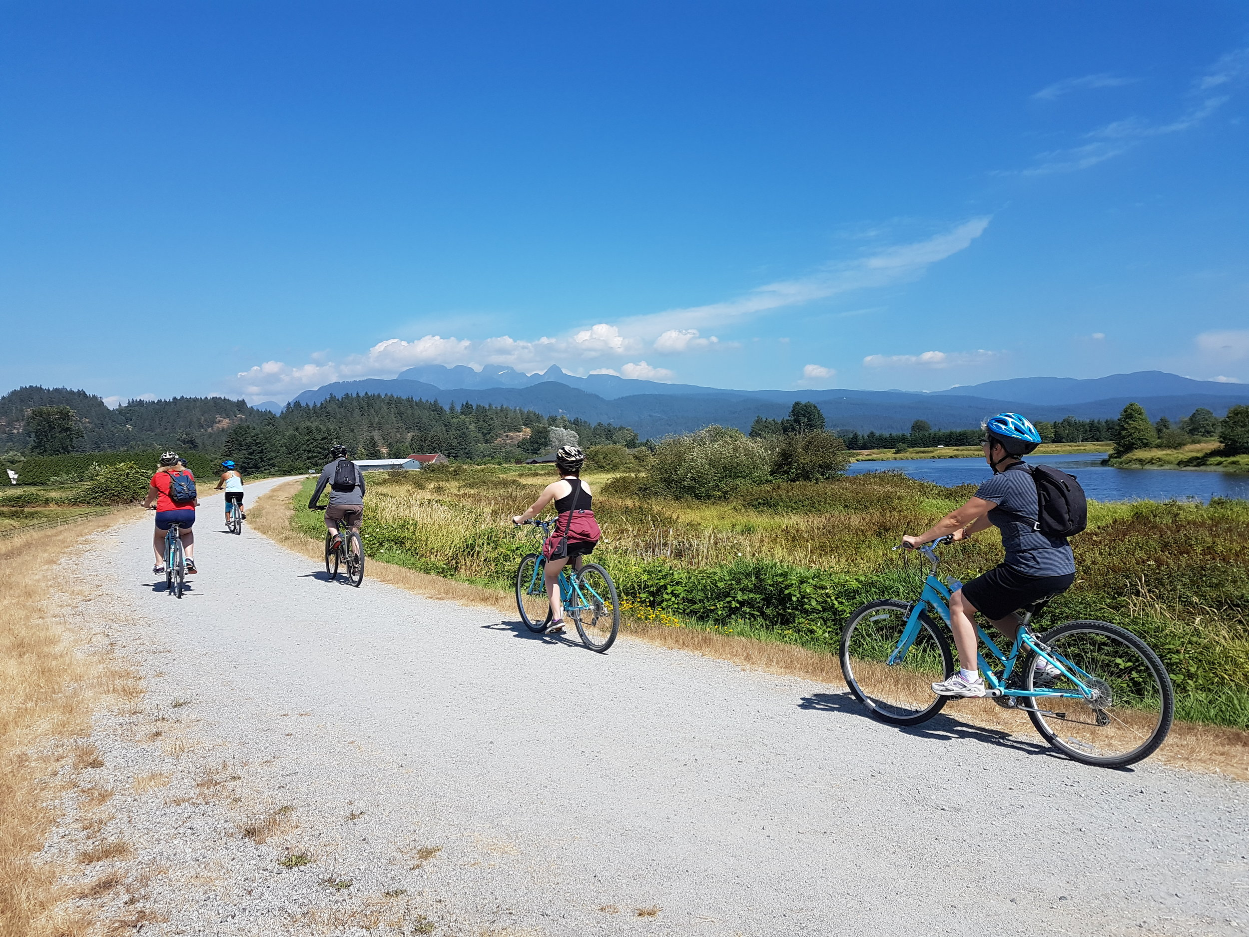 Biking during our tour at Pitt Meadows