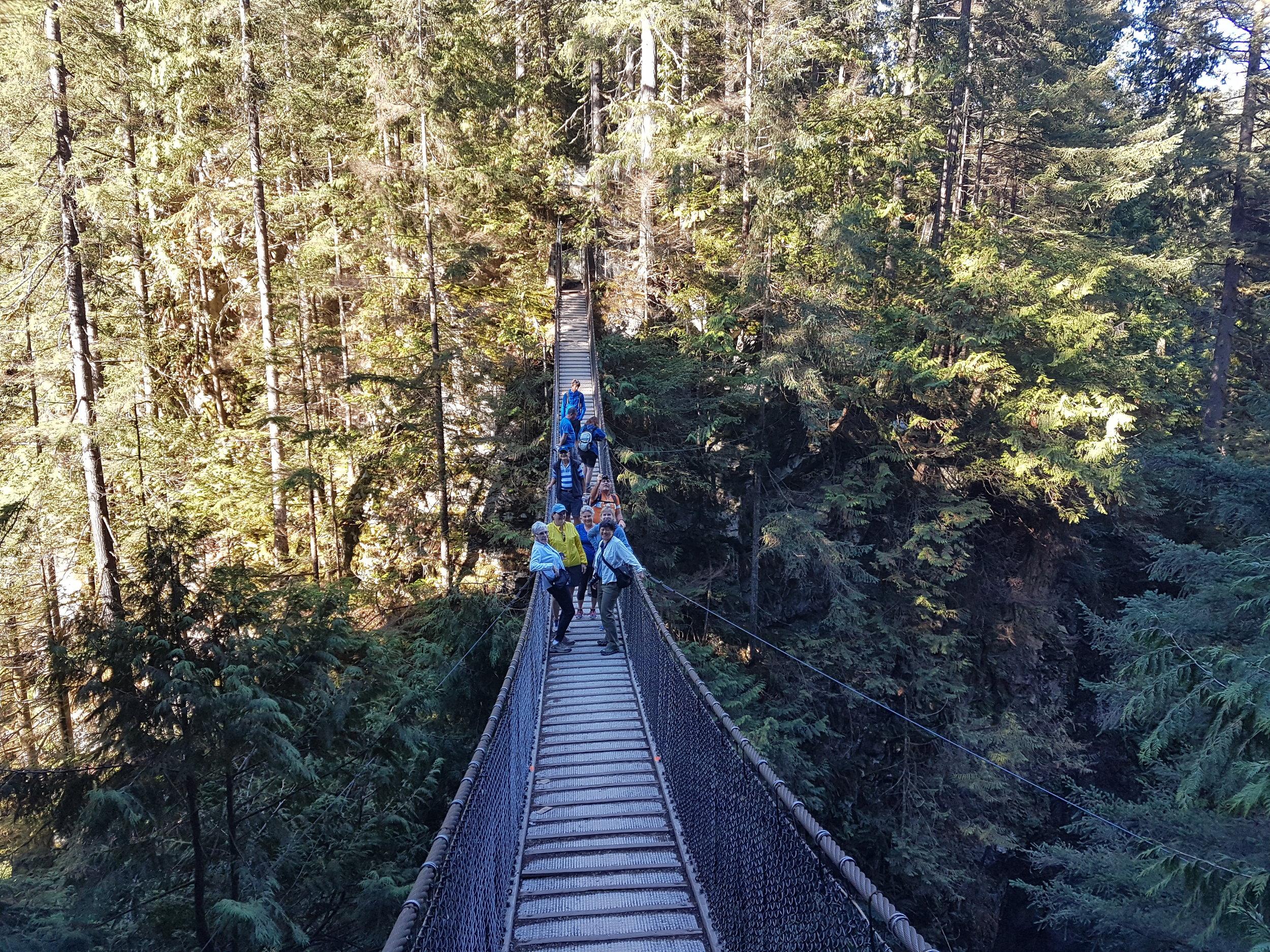 Crossing the Supsension Bridge at Lynn Canyon Vancovuer