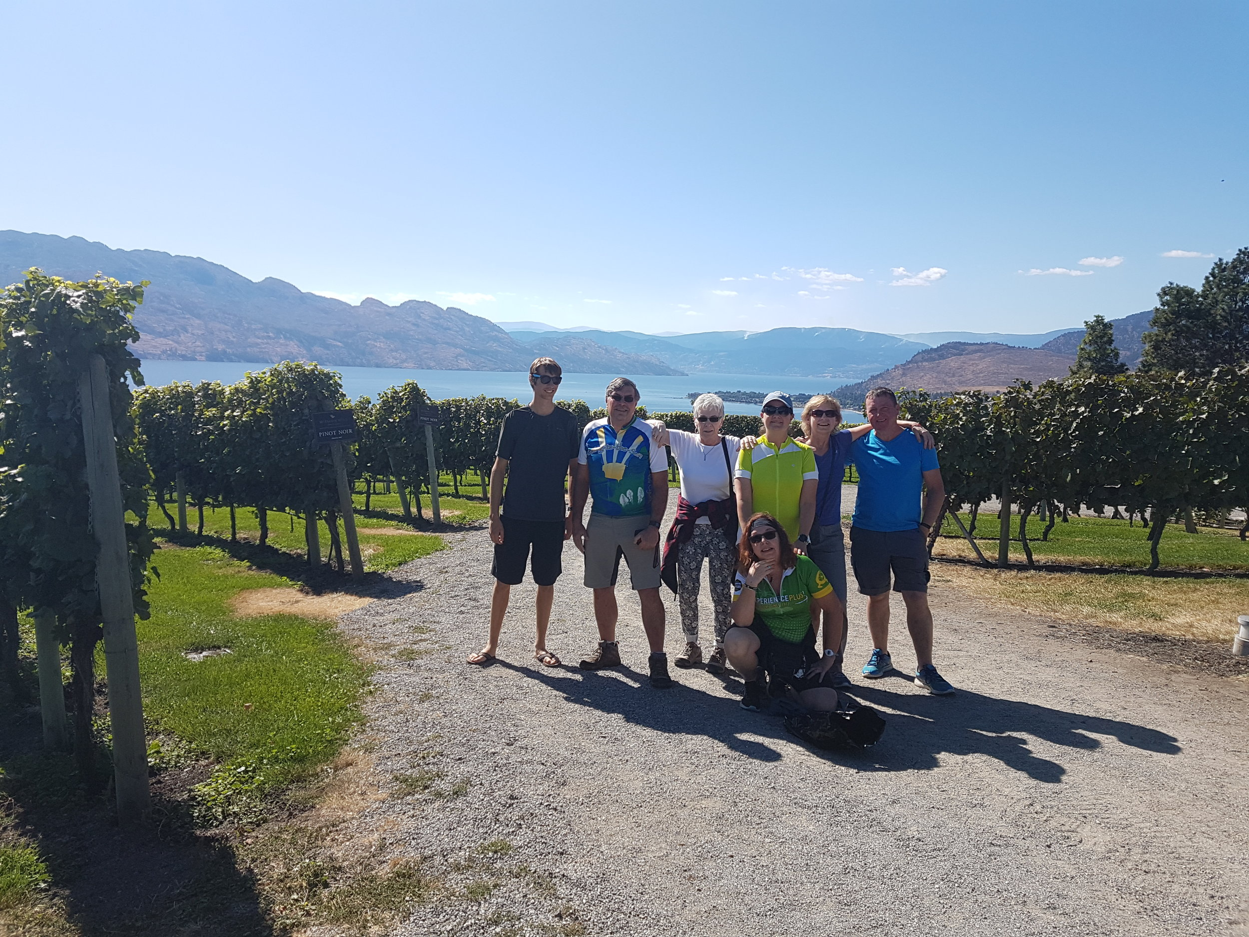 Group photo at one of the wineries during our Okanagan bike holiday