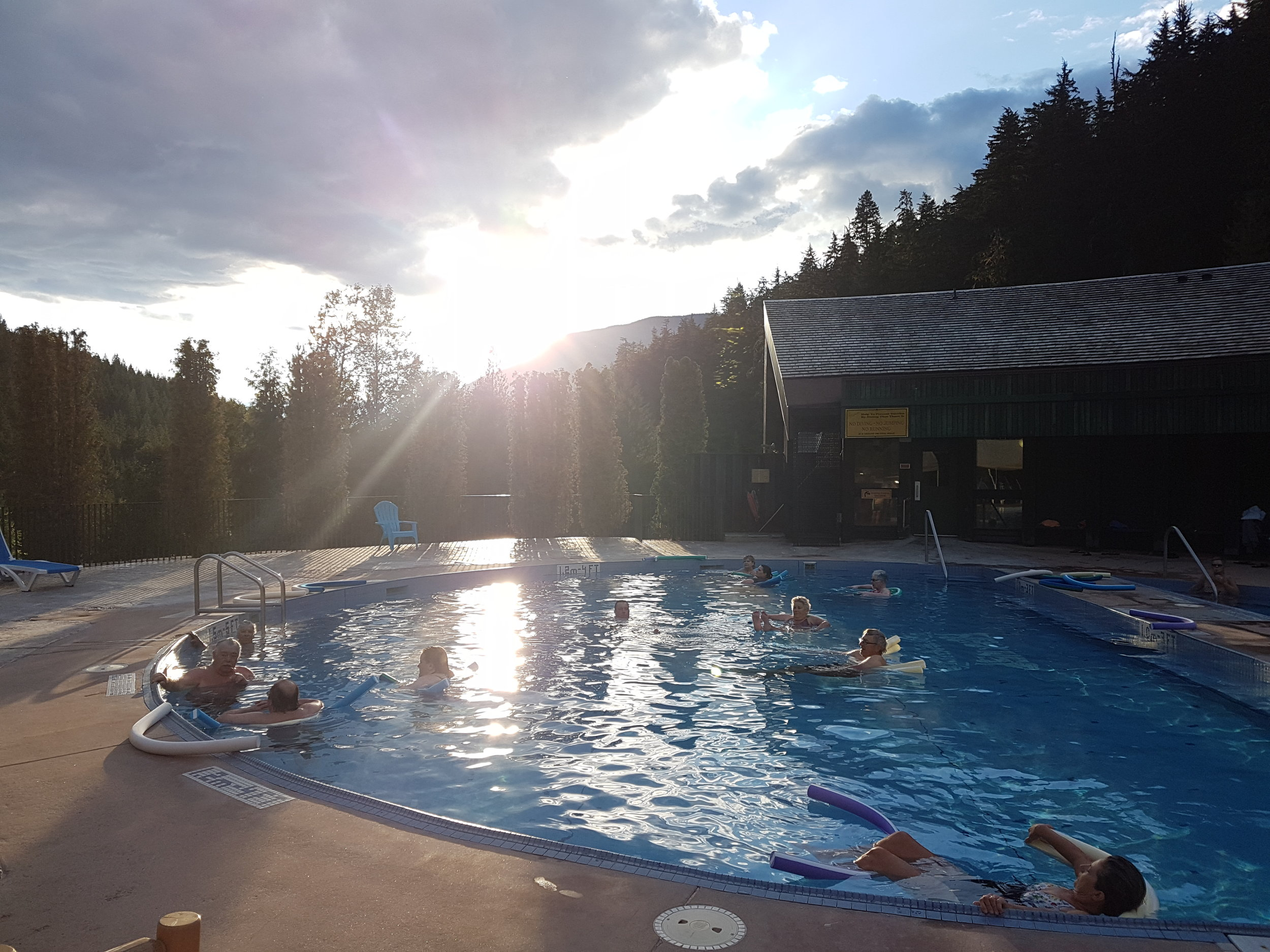 Relaxing in the Nakusp Hotsprings during one of our Multiday Bike tours