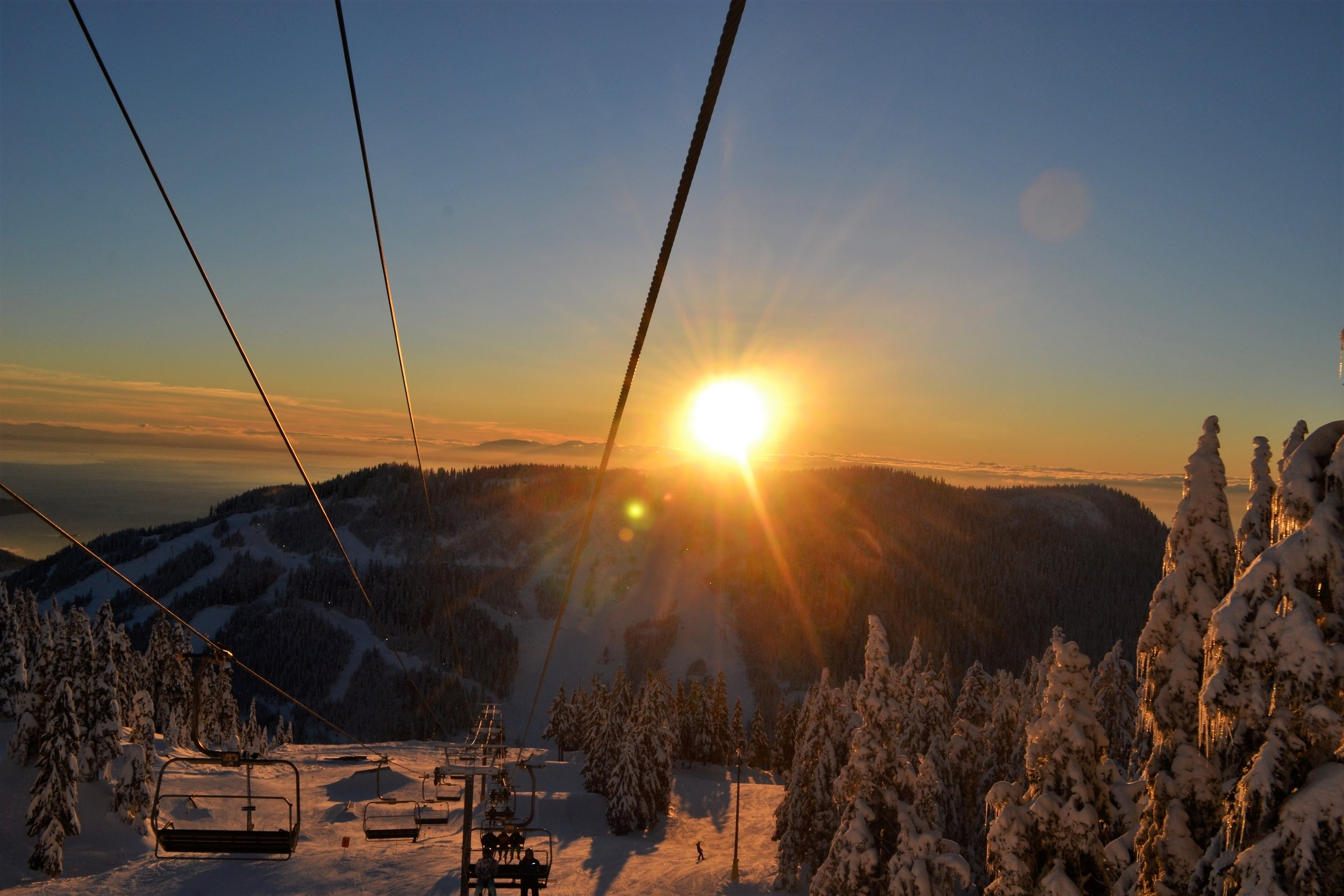 A great view of the sunset from the chairlift at the local mountains in Vancouver