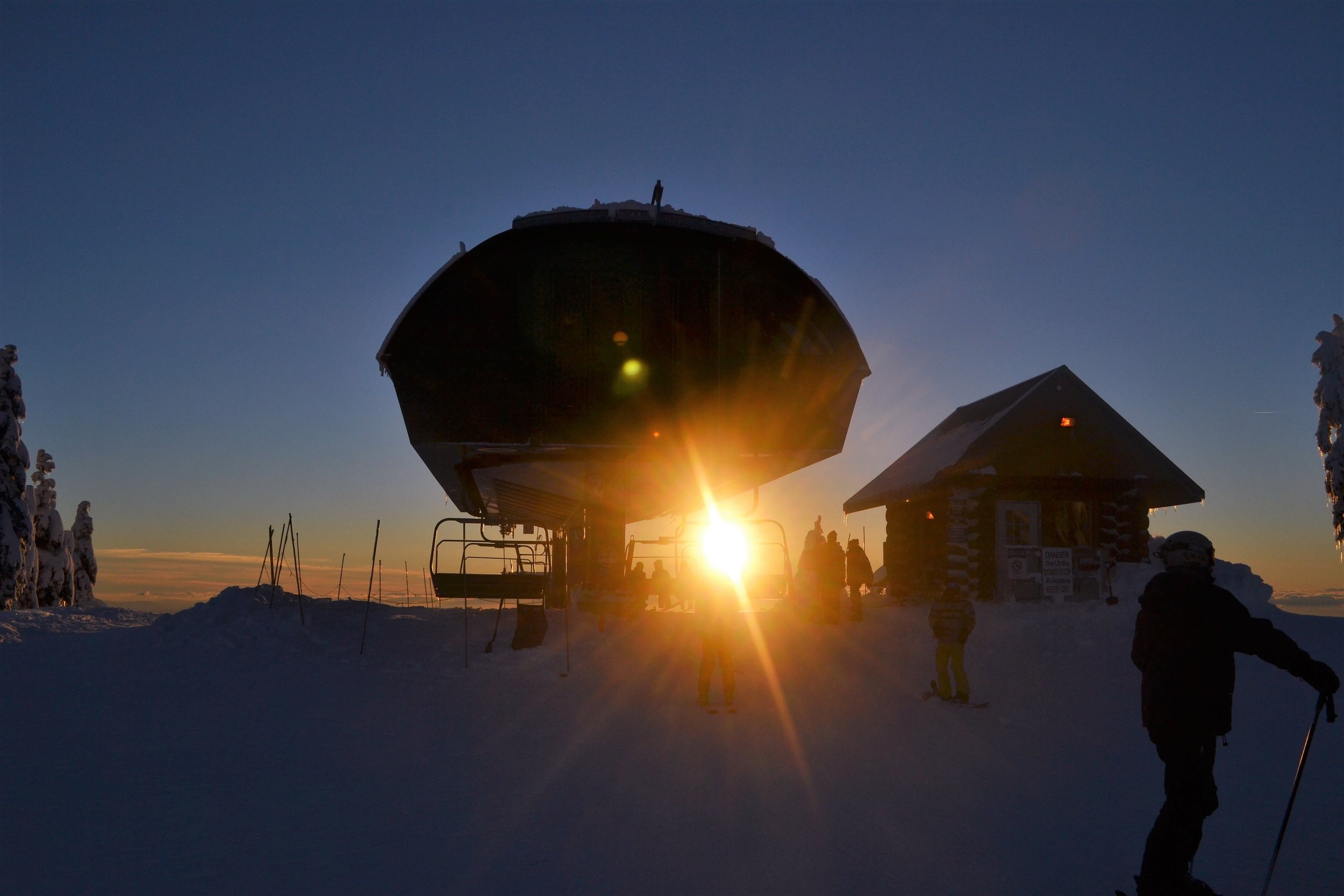 Sunsetting at one of the chairlifts at the local mountains in Vancouver