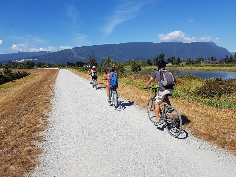 Cycling along the Dykes at Pitt Meadows
