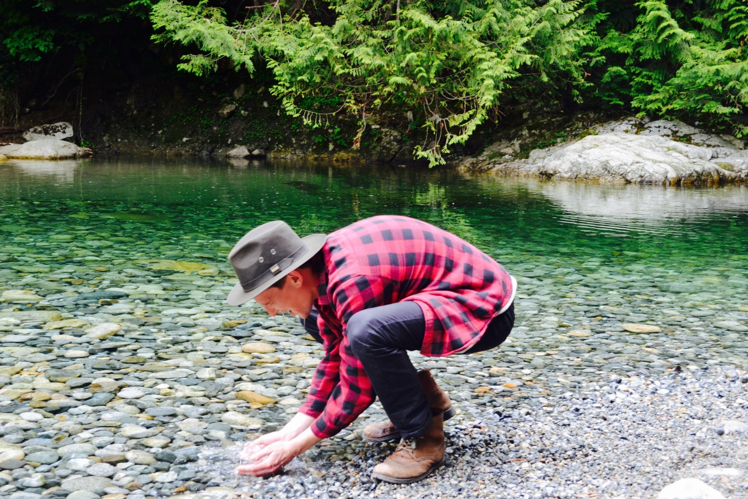 Refreshing cold water at 30 foot pool at Lynn Canyon during our one day bike and hike tour