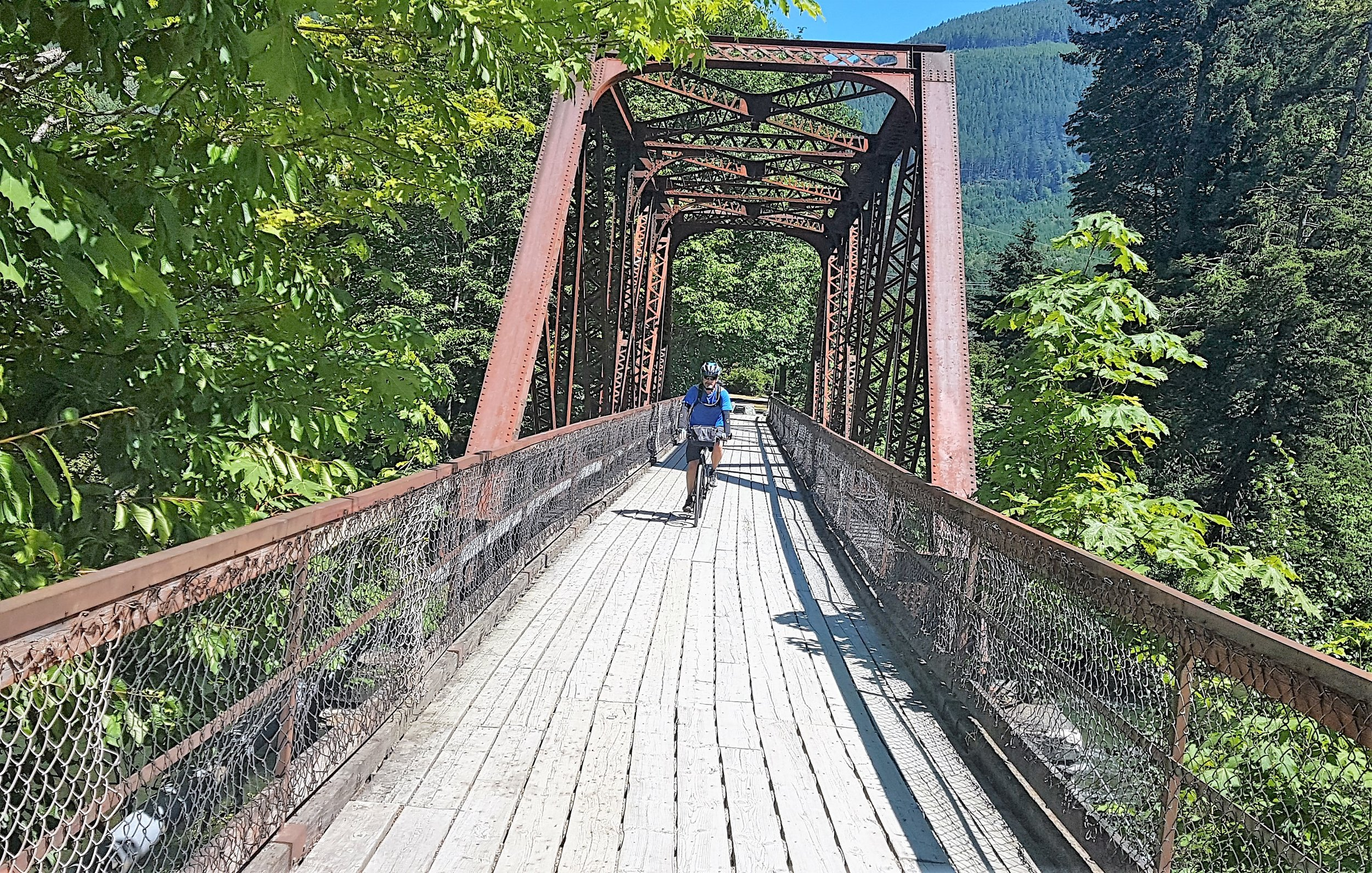 Pedalling along the Cowichan Valley Trail, a segment of the Trans Canada Trail on Vancouver Island