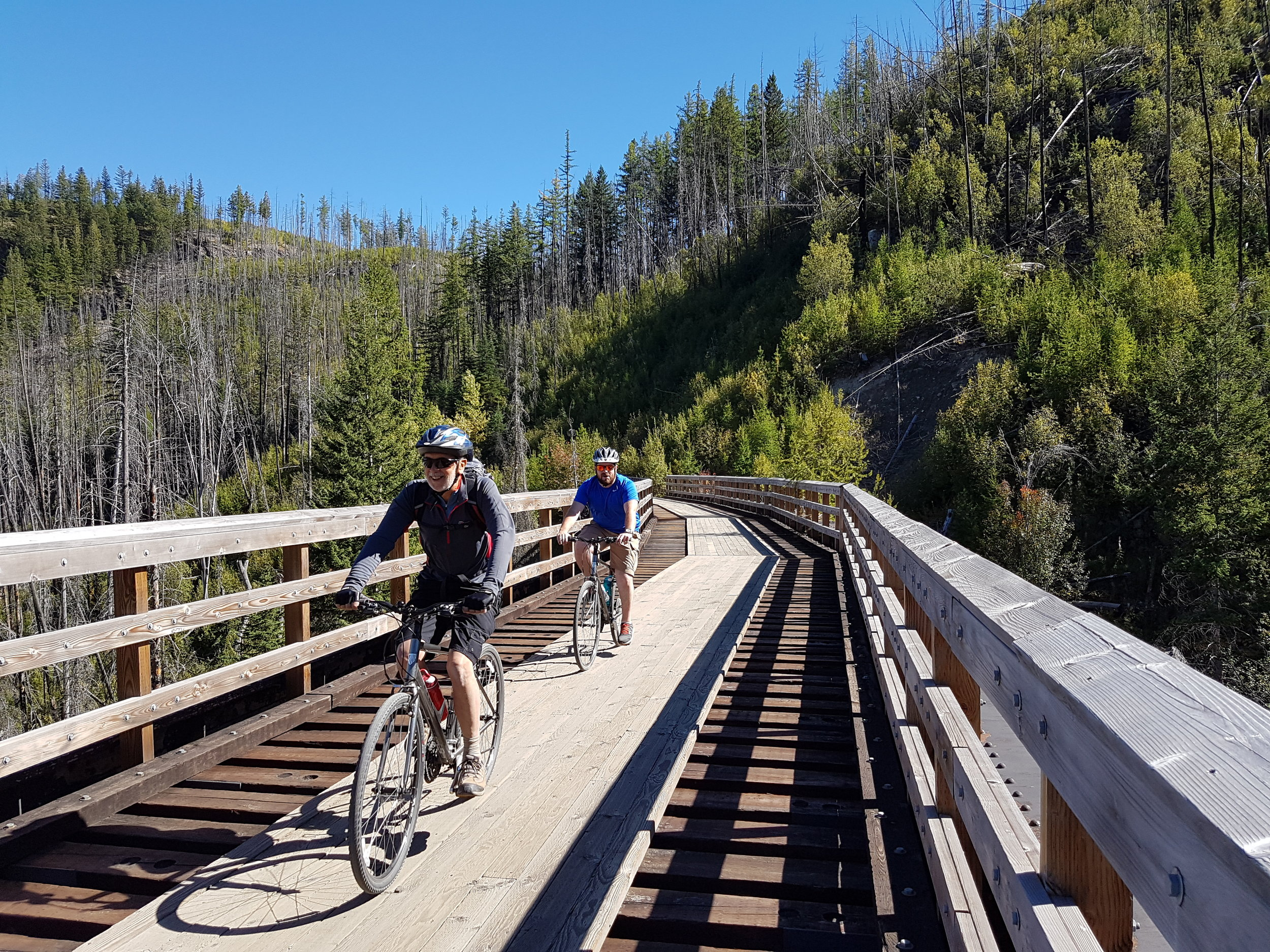 Discover the Kettle Valley Rail Trail in the Okanagan and ride over one of the 16 wooden trestles