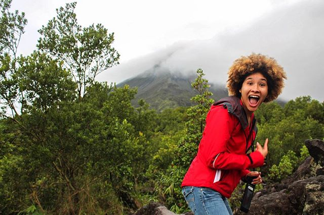 Sometimes you only get the briefest glimpses of volcano tops. This is @nniiamey's face when she finally saw it. #traveltuesday