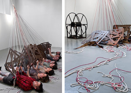 A hybrid back-strap, warp-weighted, tablet loom will produce a woven band through the repetitive, synchronized movements of 16 cheerleaders.  Performance Installation 20' x 12' x ?' / Fall 2010