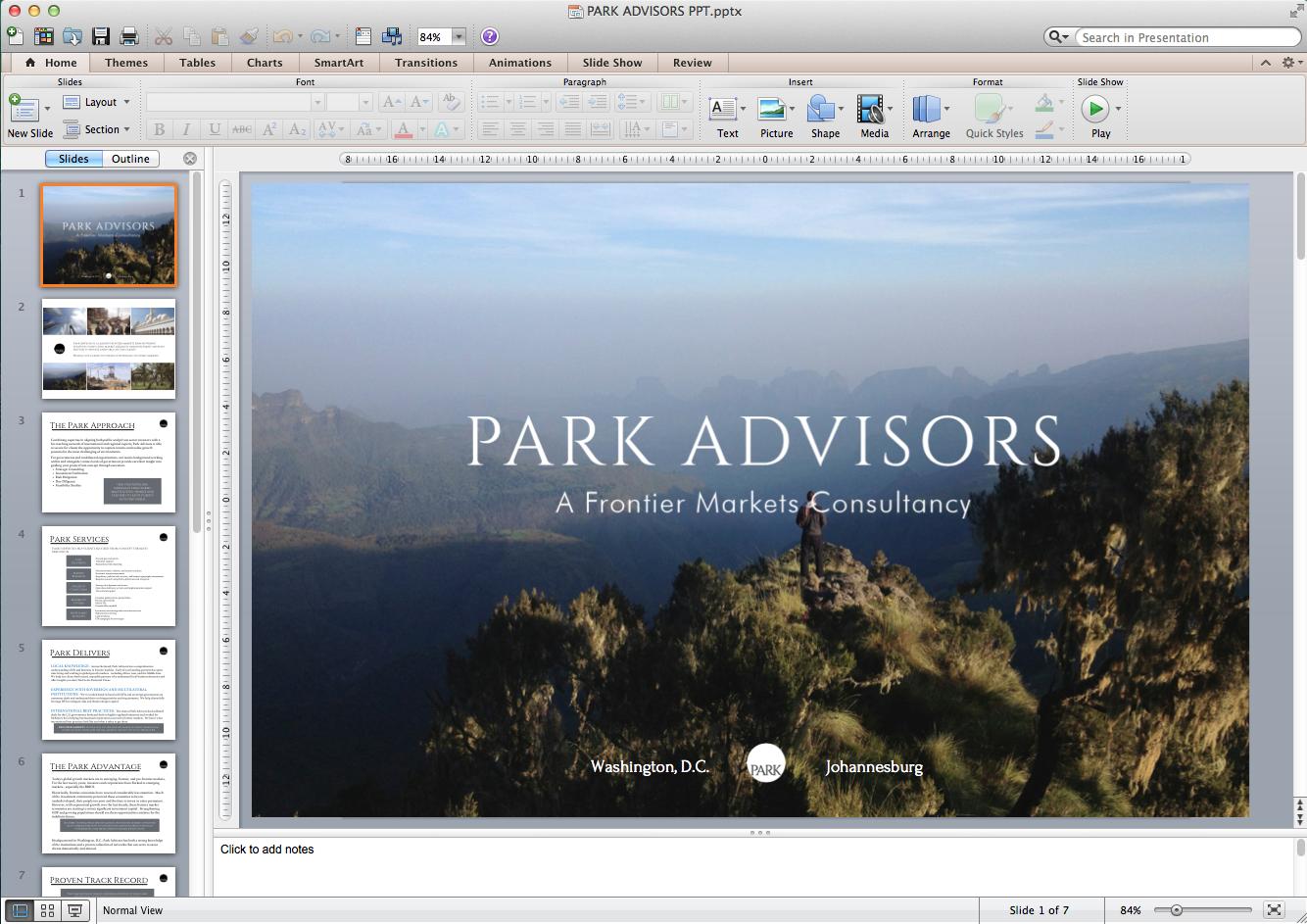 PARK PowerPoint Presentation