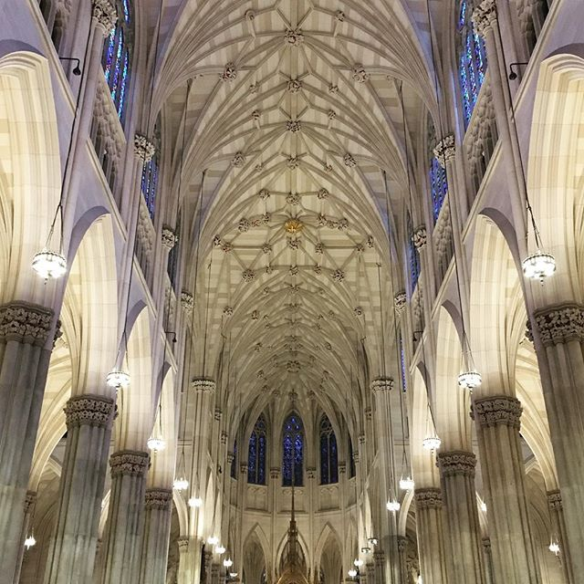 #TBT to the soaring arches and geometric painted ceiling of St. Patrick's Cathedral. 5th Avenue, Manhattan. #seetheremarkable #goberemarkable