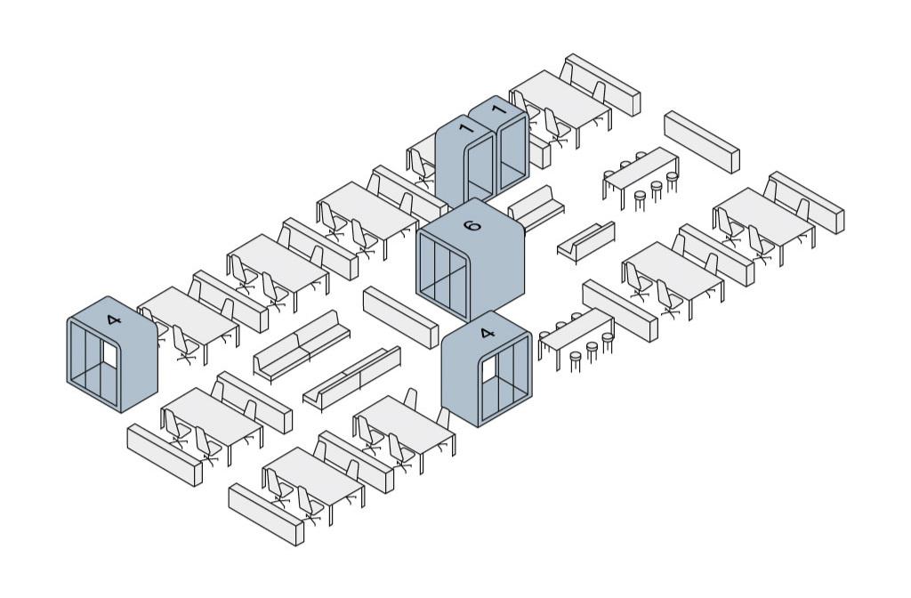 Esimerkkikuvassa Space 1, Space 4 ja Space 6 - puhelinkoppeja sekä erikokoisia modulaarisia hiljaisia tiloja.