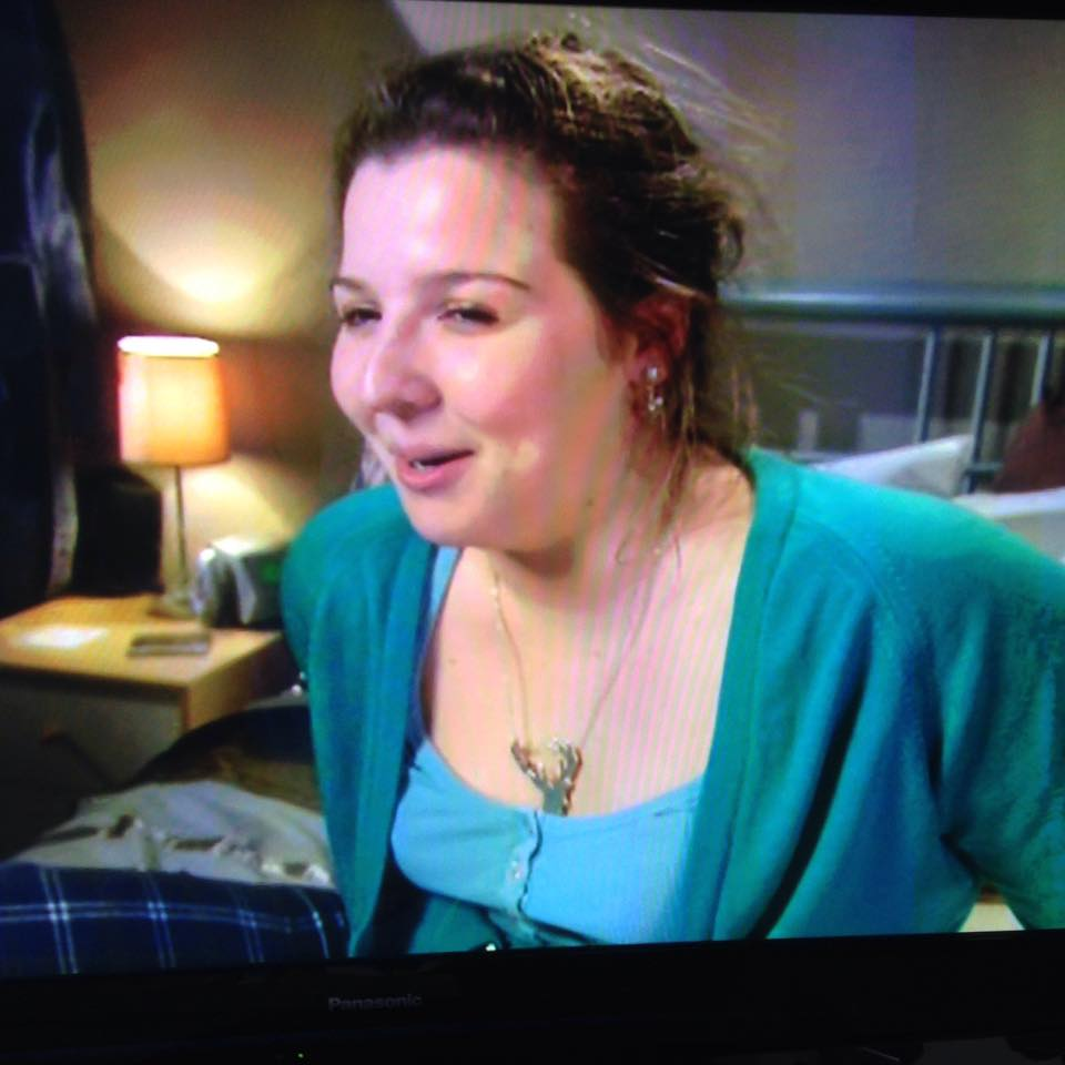 The famous stag necklace, as seen on TV! Sorry for the appalling shot, but every time the entire necklace was in shot she seemed to be pulling an unflattering face.