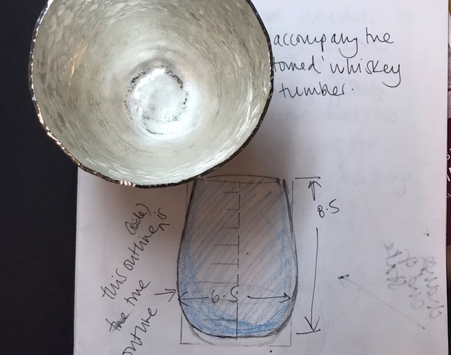 My initial sketch to show the size of beaker I wanted to raise in silver
