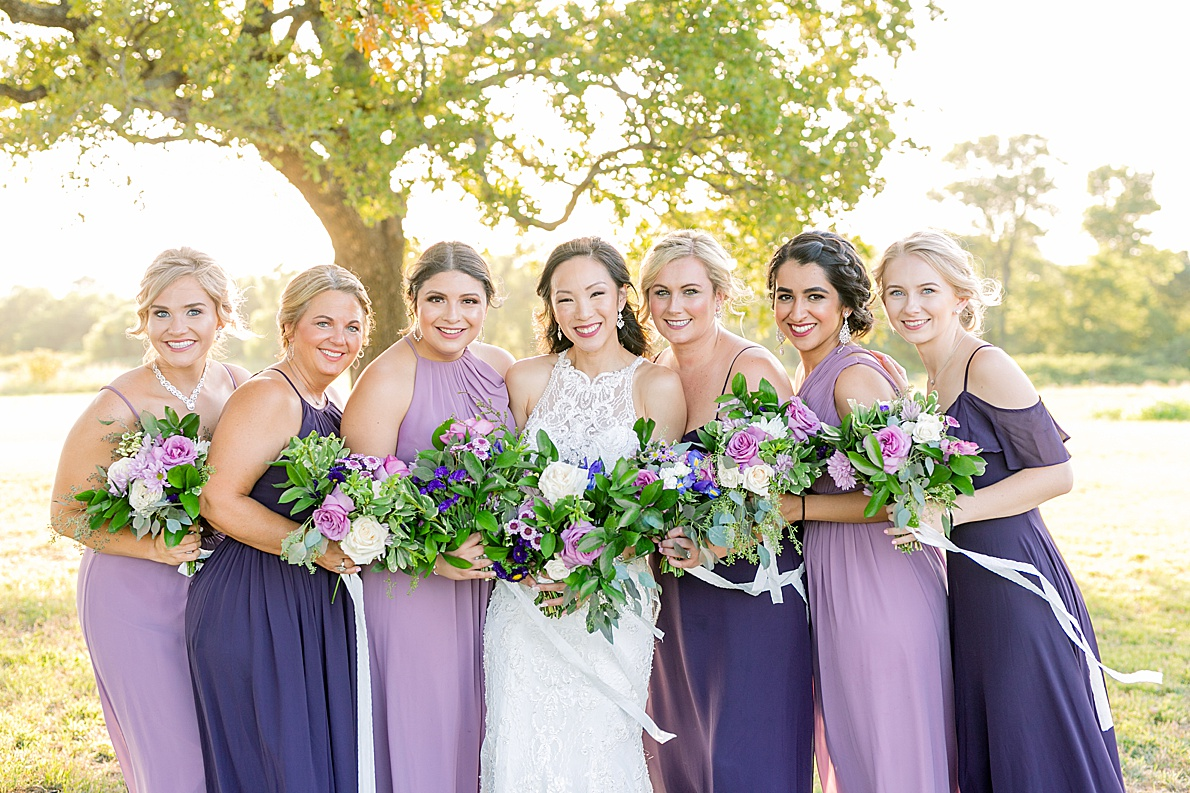 Bridesmaids in Purple Dresses Flying V Ranch