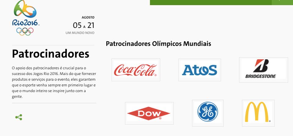 Patrocinadores das olimpiadas