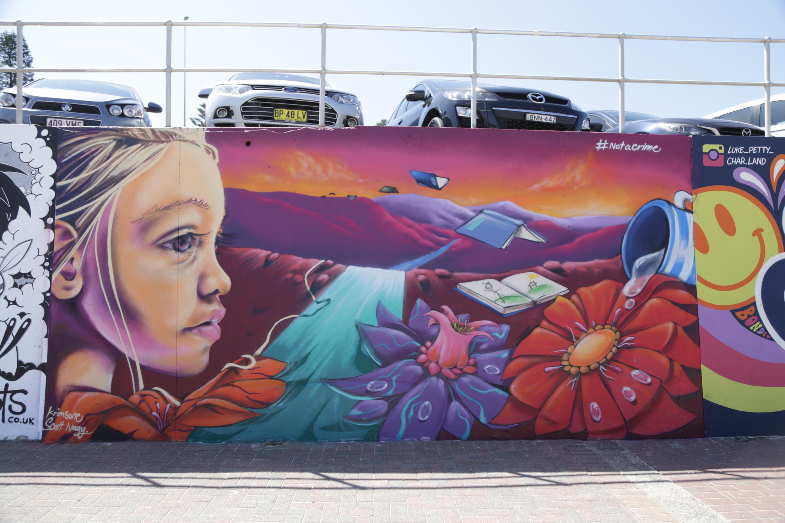The Australian duo Krimsone & Scott Nagy's latest mural on Bondi Beach.
