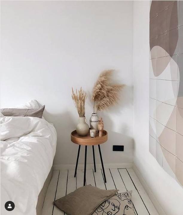 """(repost) I am so happy to see that my new collection of IXXI wall pieces are so well received. Look at this beautiful bedroom of @mariskaoldenburg with my """"Graphic 192"""" - dank je wel, Mariska.  (repost) Current dreamy bedroom situation 🕊Working on a bedroom makeover and the first step is this huge artwork from @ixxiyourworld which I added to the wall. Everything was white and minimal, but I found it a little bit too simple. Can't wait for the rest of the makeover, because we will also have a new floor. Can you guess what kind of floor?! #ixxiyourworld 🌾"""