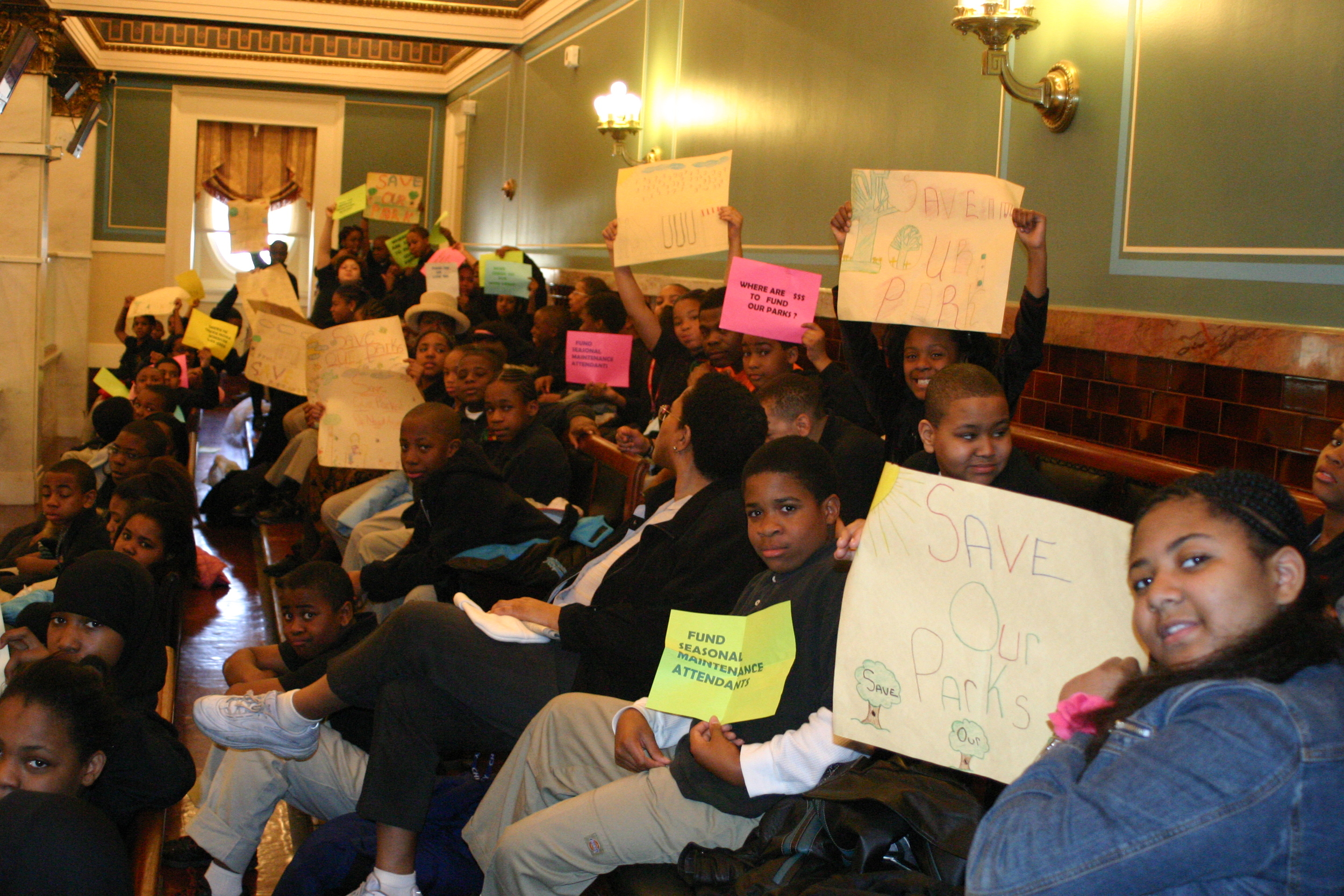 Discovery Charter students demand more money for parks