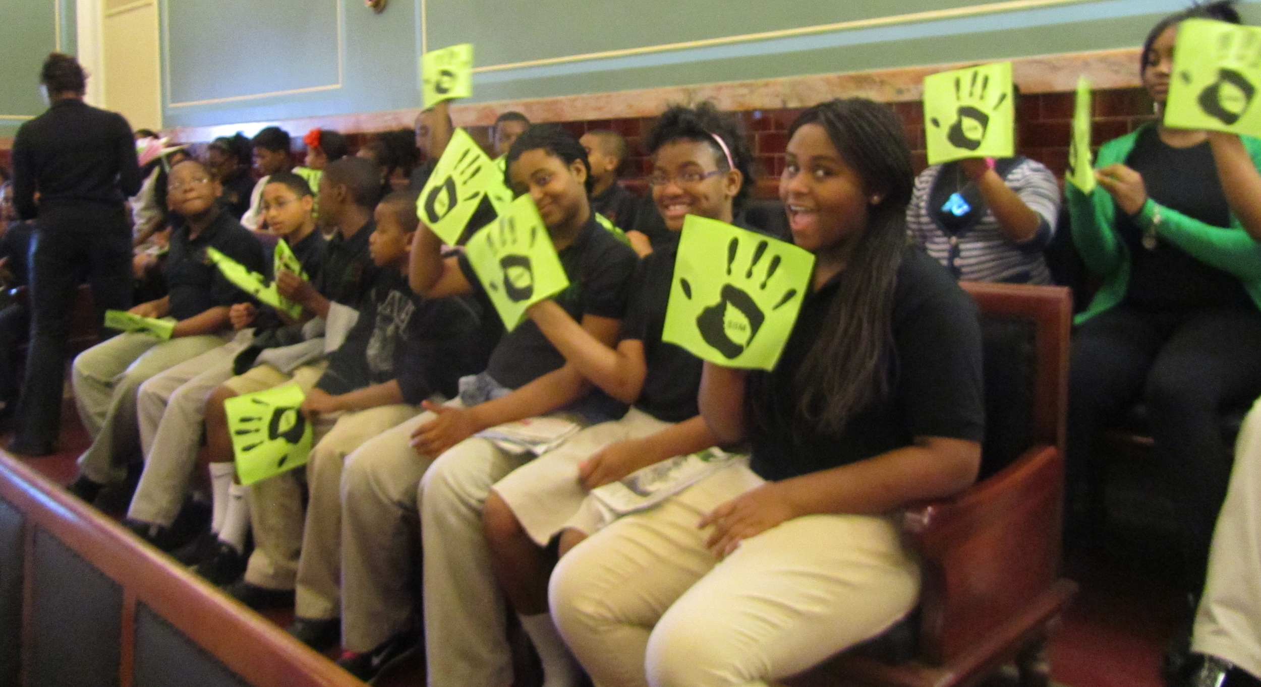 """Discovery Charter 5th grade students calling to """"Restore $8 million!"""" at April 17th Parks & Rec Budget Hearing"""