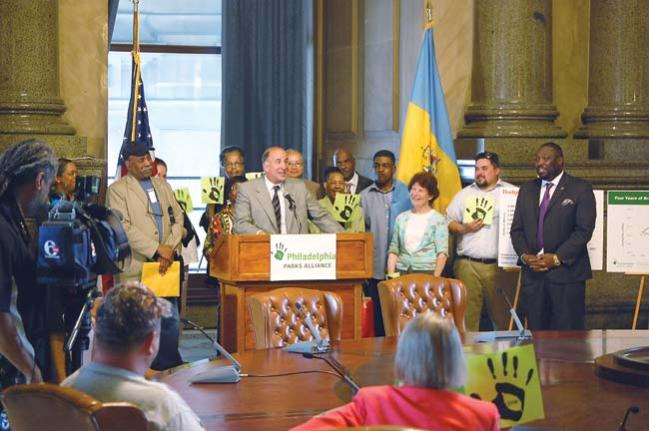 Councilman Squilla speaks at a Parks Alliance press conference