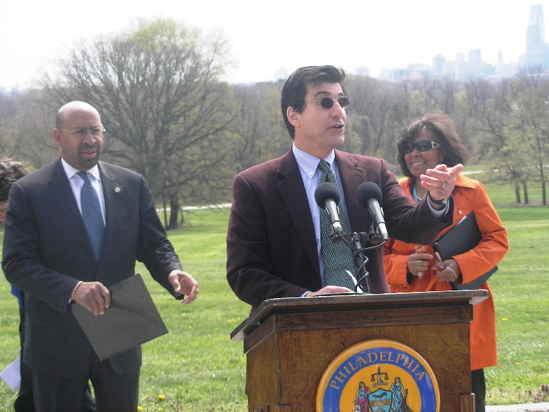 (L - R) Mayor Michael Nutter; Michael DiBerardinis, Commissioner, Philadelphia Department of Parks and Recreation; Councilwoman Blondell Reynolds Brown
