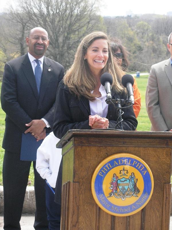 (L - R) Mayor Nutter; Debra Wolf Goldstein, Parks and Recreation Commissioner